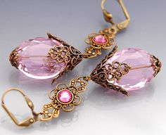 BEAUTIFUL - Ornate Pink Faceted Crystal Earrings in by shalayneoriginals, $39.99