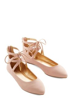 Refined Stride Flat. Walking in these ladylike pale-blush flats, you possess a certain savoir faire thanks to their ballerina-inspired design. #gold #prom #modcloth