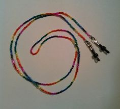 Rainbow Eye Glasses Holder/Lanyard by TheCraftyCuban on Etsy
