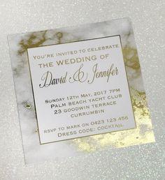 Gold Foil Marble Printed Wedding Invitation SAMPLE