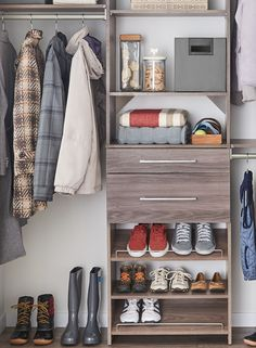 Shoe Cubbies, Hanging Storage And A Shelf And Rod In A Small Closet. |  Chic, Organised Closets  Reach Ins | Pinterest | Small Closets, Shoe Cubby  And ...