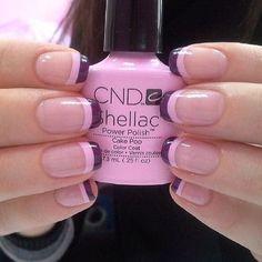 Pink and purple tips. Shellac Nails, Nail Manicure, Diy Nails, Cute Nails, Pretty Nails, Nails Only, Nail Candy, Crazy Nails, Perfect Nails