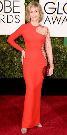 Golden Globes 2015: Red Carpet Arrivals - Jane Fonda from #InStyle #2015goldenglobes #redcarpet