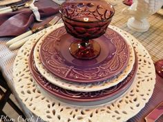 Purple dragonfly plates with white pierced reticulated charger and accent plate