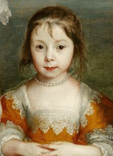 close up of young girl in orange silk gown, James, Seventh Earl of Derby, His Lady and Child (detail) - van dyck