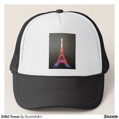 Eiffel Tower Trucker Hat - Fashionable Urban And Outdoor Hunter Farmer Trucker Hats By Creative Talented Graphic Designers - #hats #truckerhats #fashion #design #designer #fashiondesigner #style #trends #bargain #sale #shopping - Trucker Hats are a great way to cheer your team or promote your brand or make a unique fashion statement or simply keep the sun out of your eyes - Customizable trucker hats are the perfect way to look cool and memorable - Trucker Hats can be customized with text or…