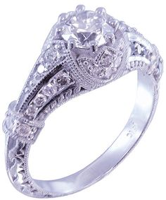 14k white gold round cut diamond engagement ring antique by KNRINC