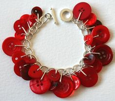 Amazing Red Button Charm Bracelet - I could see making this with red, white and blue buttons for the 4th of July or red and green for Christmas
