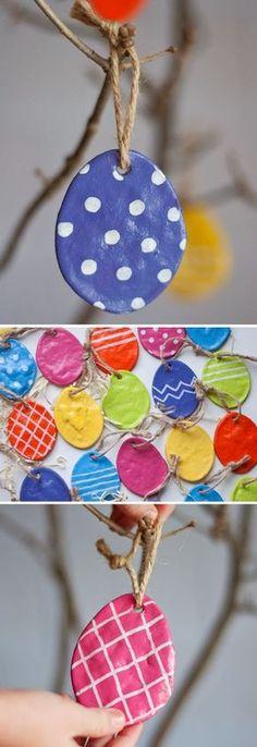 DIY: Salt Dough Eggs. A cute way to keep their Easter eggs designs