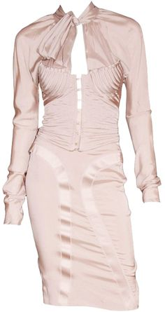f73bc5fe092 Iconic Tom Ford Gucci Nude Silk Runway and Ad Campaign Top and Skirt In Size  42