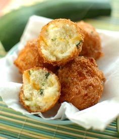 Zucchini Cheddar Hushpuppies. I would gladly eat zucchini in this form!