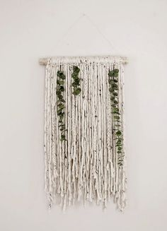 Poppytalk: Yarn and Eucalyptus Wall Hanging: