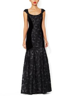 Velvet Mermaid Gown with Embellished Lace by Theia at Gilt