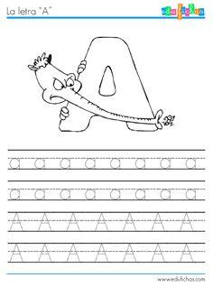 Colección de fichas del abecedario de los animales. Fichas educativas para aprender a escribir las letras. Descargar material educativo gratis para clase.