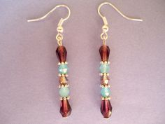 FREE SHIPPING-Turquoise violet and silvery beaded earrings - Bohemian gypsy style. $15,00, via Etsy.
