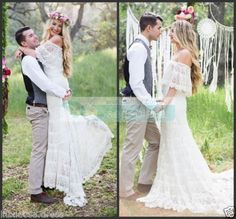 Dreamy Bohemian Wedding Dress Lace Off Shoulder Boho Bridal Gown Custom all Size #BallGown