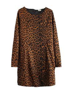 Stylish Round Neck Leopard Print Slim Long Dresses