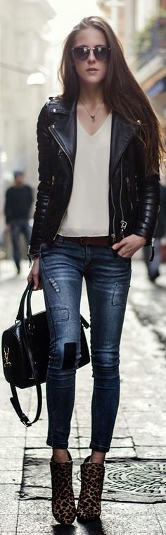 Love the jeans and boots - would wear this with a short cropped black leather instead of biker jacket though