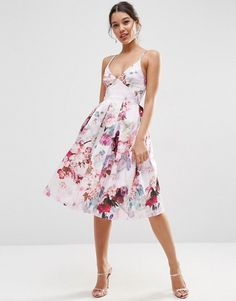 ASOS | ASOS Strappy Midi Prom Dress In Lilac Floral