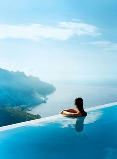 One of the most gorgeous views in the world enjoyed from the infinity pool at Hotel Caruso in Ravello