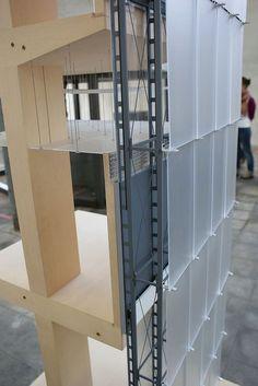 Peter Zumthor, edíficios e projectos 1986-2007 Kunsthaus Bregenz 1997 Corte construtivo maqueta da exposiçao 1995, escala 1:10 Kunsthaus ...: