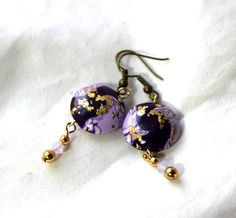 Two Tone Purple Swirl Earrings With Gold by WyvernDesignsJewelry @wyverndesigns #bmecountdown #MothersDayGift #jewelry