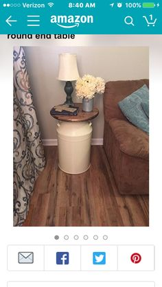 Milk Can end table wood end table cream milk can end table rustic end table rustic table round end table metal end table milk cans Repurposed Furniture, Diy Furniture, Furniture Makeover, Basement Furniture, Basement Flooring, Country Decor, Farmhouse Decor, Round Farmhouse Table, Farmhouse Furniture