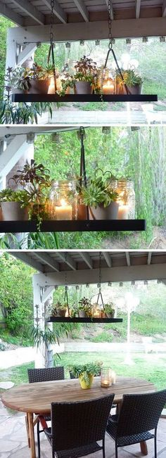 Plantas y Velas colgantes. I love for succulents so I think this is a very cute idea for any porch or outdoor space needing sprucing up! Outdoor Lighting, Outdoor Decor, Outdoor Chandelier, Hanging Chandelier, Chandelier Ideas, Backyard Lighting, Lighting Ideas, Lighting Design, Outdoor Ideas
