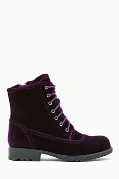 Shoe Cult Converge Combat Boot - Purple Velvet