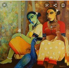 Elephant Cartoon Images, Acrylic Painting Canvas, Canvas Art, Cubist Art, India Painting, Indian Folk Art, Indian Art Paintings, Traditional Art, Lovers Art