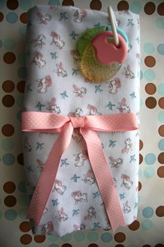 Baby Flannel Receiving Blanket Bunnies and Blue Birds by monbebes, $22.95