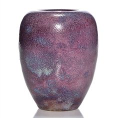 Edmond Lachenal (France 1855-1930) vase covered in a mottled purple, mauve and light blue mat glaze.  Marked Lachenal 16:121 in black slip on the bottom.