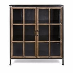 This antiqued wood and metal cabinet has smooth finish with two glass doors that open to shelves. Indeed in this you can keep useful things like books small decorative accents or other pieces into it to show off. This will perfectly go well with every styled home theme. material: Iron
