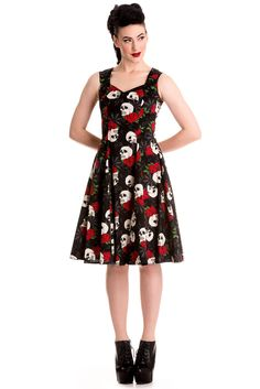 b1d9842e49b7 Hell Bunny Gothic Beautiful Dark Side Queen Skull & Rose Flare Party Dress  Gothic Tops. Skelapparel