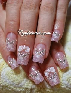 All For Fashion Design is your main daily source of ideas for your next nail design. Check below our collection of Fancy Nail Art Designs with Bows and find your favourite! Fancy Nail Art, Fancy Nails, Bling Nails, 3d Nails, Love Nails, Pretty Nails, Pastel Nails, Beautiful Nail Designs, Beautiful Nail Art