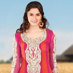 Dark Pink and Orange Faux Chiffon Churidar Kameez