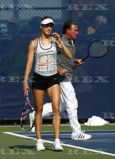 US Open Tennis Championships 2015 Saturday Practice/Previews Flushing Meadows US Open, New York, United States - 29 Aug 2015 Eugenie bouchard of Canada and new coach Jimmy Connors during practice at the US Open, Flushing, New York, 2015 29 Aug 2015