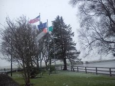 The flags in front of the Aghadoe Heights Hotel & Spa in Killarney are getting a sprinkling of snow today #spring?