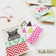 10 preppy HIPSTER fabric sewn gift tags by thepolkadotbarn on Etsy