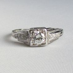 Art Deco Diamond Engagement Ring from the 1930's - 18k White Gold - GIA Appraisal 1,920 USD! by Ringtique on Etsy