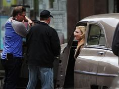 """Cate Blanchett photographed filming a scene from """"Carol"""""""