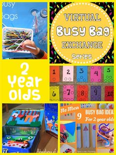 We continue with our Virtual Busy Bag Exchange Series! Here are busy bag ideas for keeping TWO year olds entertained! With straws and sticks: Lollipop Stick Drop from Adventures of Adam Busy Bag with Straws from Powerful Mothering Dinosaur Popsicle Stick Puzzle from Artsy Momma Crazy Straw and Velcro Dot Craft …