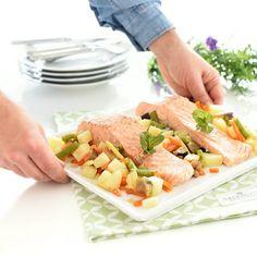 Salmón al vapor con verduras Fish And Seafood, Sin Gluten, Cantaloupe, Keto, Fruit, Cooking, Diabetes, Drinks, Vegetables