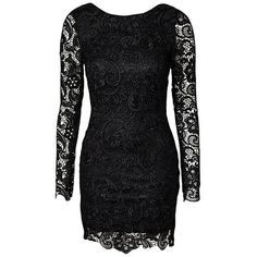 Yoins Black Backless All Over Lace Dress (26 AUD) ❤ liked on Polyvore featuring dresses, black, cocktail party dress, long sleeve backless dress, long sleeve lace dress, party dresses and lace dress