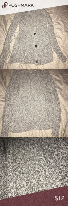 Hollister cardigan Marled grey button up cardigan. A couple of slits in the back. Hollister Tops