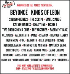 Beyonce and Kings of Leon to headline V Festival to be held on 17th and 18th August.
