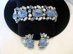 Sublime Infused Art Glass Rhinestone Vintage 50s Hattie Carnegie Bracelet Set | eBay