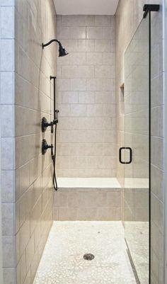 Transitional Bathroom with frameless glass shower door