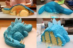 "A dinosaur 3D cake from 2-9"" round cake pans. Link goes to the instructions. This picture came from http://glass.typepad.com/journal/2008/04/blue-dinosaur-c.html"