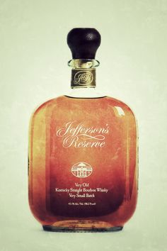 Jefferson's Reserve Very Old bourbon is a fantastic example of a very small batch bourbon. Smooth drinking with an unbelievable finish. Bourbon Whiskey, Scotch Whisky, Small Batch Bourbon, Best Bourbons, Bottle Shop, Bottle Labels, Rye, Fun Drinks, Liquor